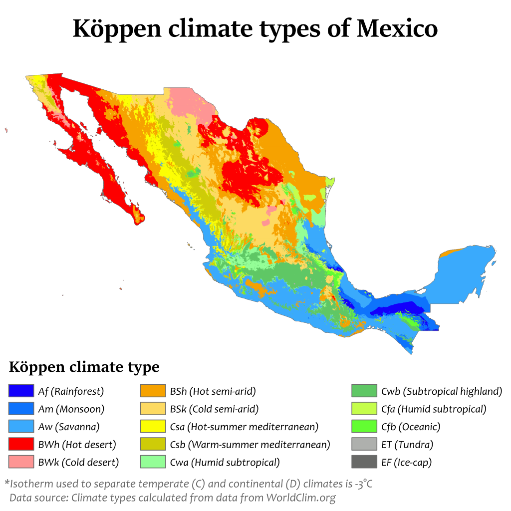 Köppen climate types of Mexico   geo   Mexico, Map, Geography