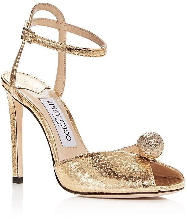 cf3146ae003f Jimmy Choo Women s Sacora 100 Snake-Embossed Embellished Leather High-Heel  Sandals