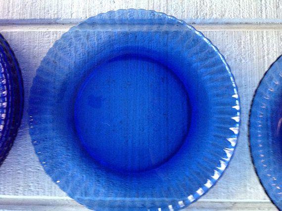Vintage blue glass dinnerware Cobalt Blue dinner plate salad ...