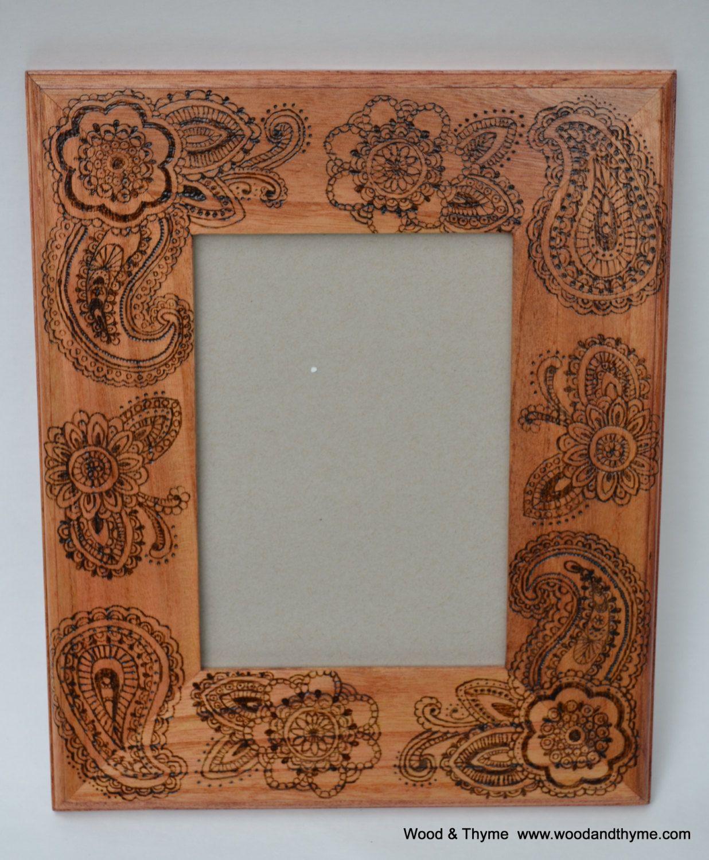 Mehndi Style Wood Burned Frame. Pyrography   Wood burning ...