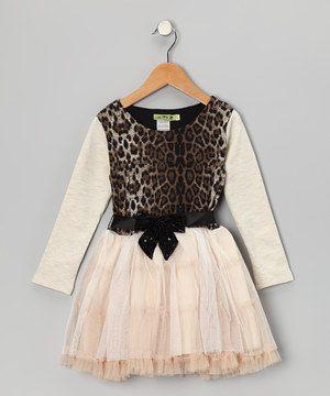 Another great find on #zulily! Ivory Leopard Queen Ruffle Dress - Toddler by Little Mass #zulilyfinds