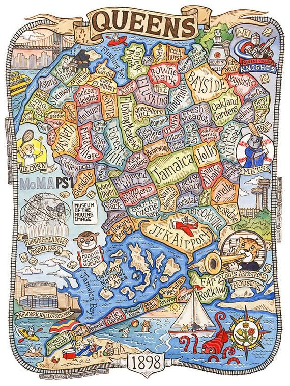 Map Of New York Showing Queens.Queens New York Map Art Print 16 X20 In 2019 Products Map Of