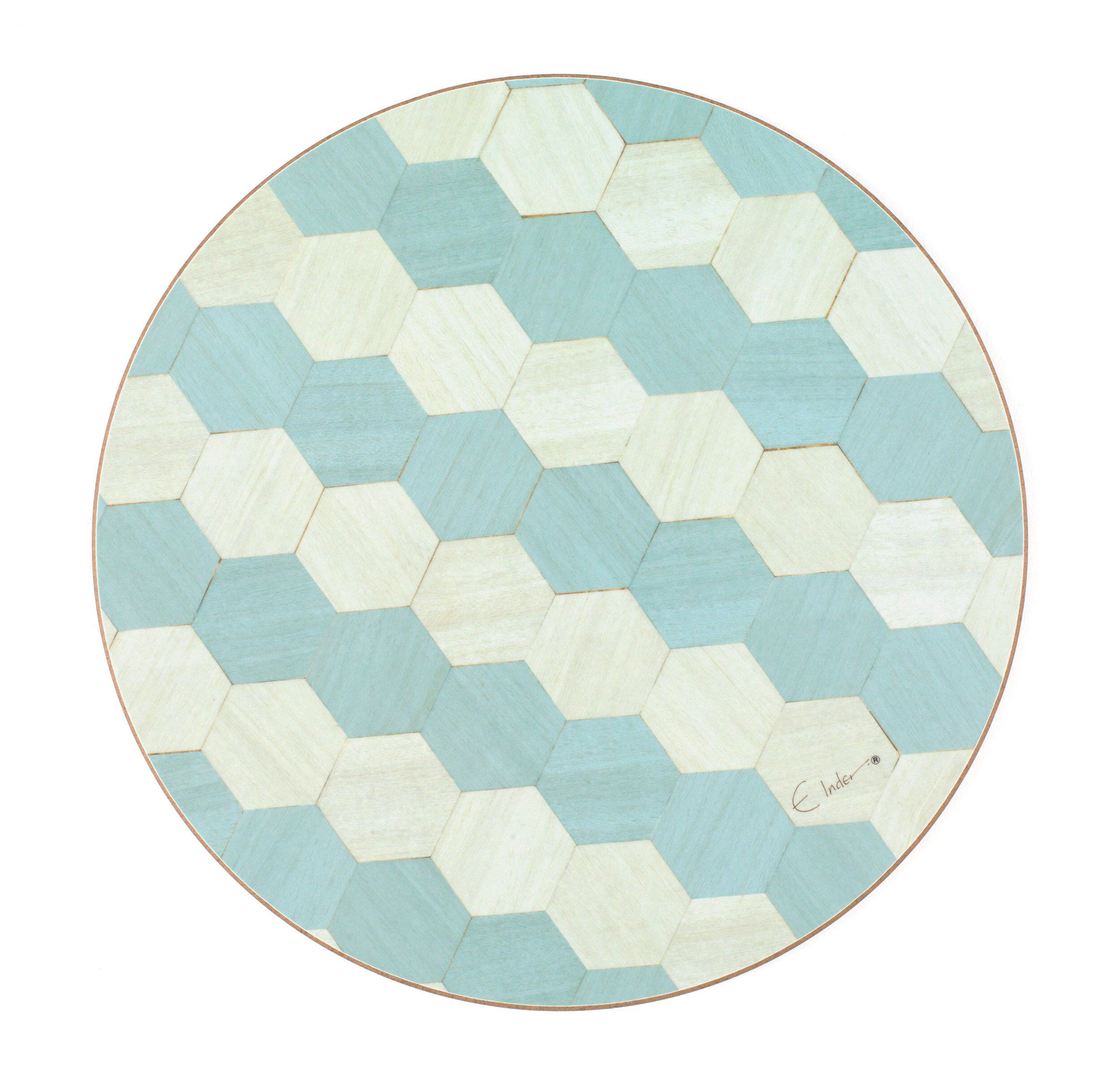 6 Round Table Mats Set Melamine Quality Heat Resistant 160 Degrees Celsius Ready To Post From Uk By Einderdesigns Duck Egg Blue Placemats Geometric Kitchen