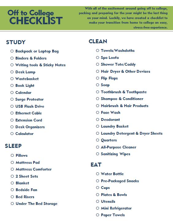 College Checklist College Checklist College College Essentials