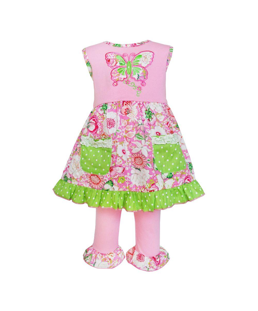 8917525cd667 Pink & Green Butterfly Dress & Pants - Infant, Toddler & Girls ...