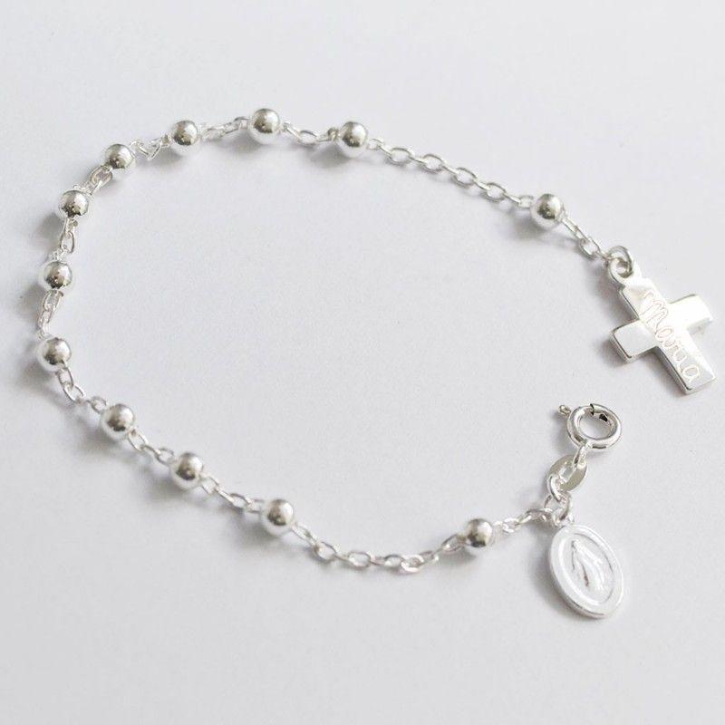 89c86bfb2283 Pulsera rosario de plata con virgen y cruz grabada