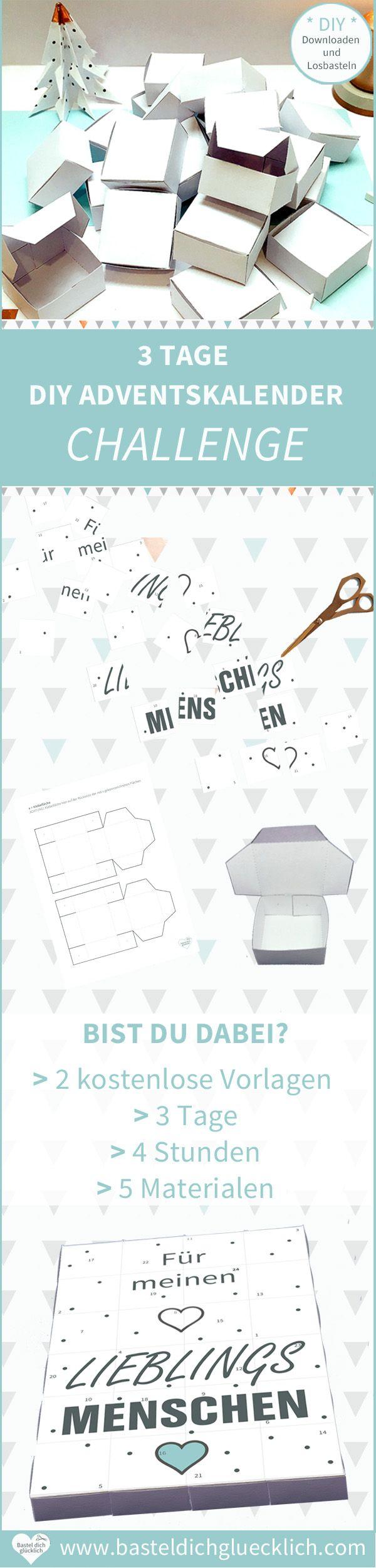 3 TAGE DIY ADVENTSKALENDER CHALLENGE: Einfach anmelden, kostenlose DIY Vorlagen herunterladen und Challenge starten #adventskalendermann
