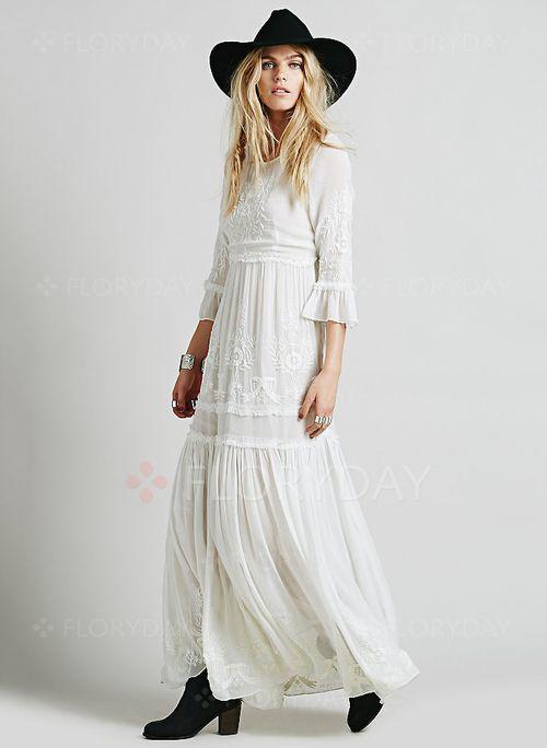 Bröllopsklänningar -  49.99 - Bomull Vanligt 3 4-lång ärm Maxi Casual  Bröllopsklänningar (1955102157) 8207812e2b139