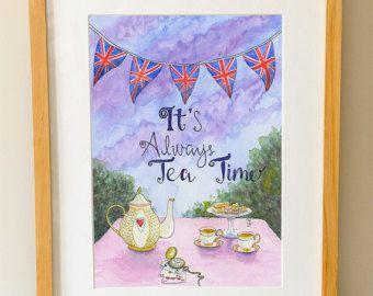 It's Always Tea Time - Tea Quote - Watercolour - Alice in Wonderland - Illustration - Bunting - Union Jack