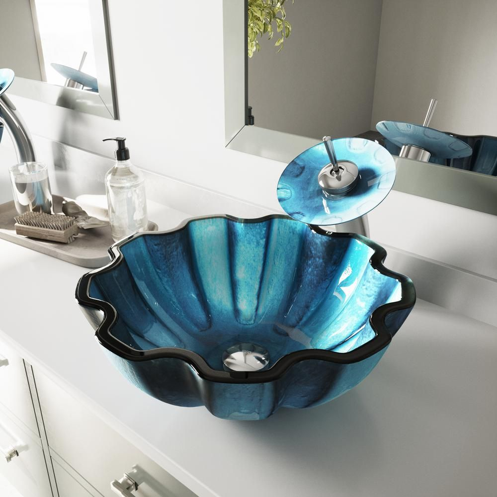 Vigo Mediterranean Blue Seashell Glass Vessel Bathroom Sink In