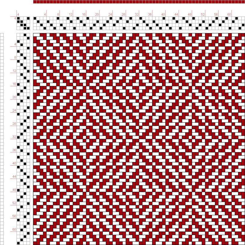 draft image: Figure 444, A Handbook of Weaves by G. H. Oelsner, 4S, 4T