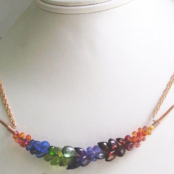 Rose Gold Gemstone Bar Necklace Rainbow 14k Rose Gold Filled wire