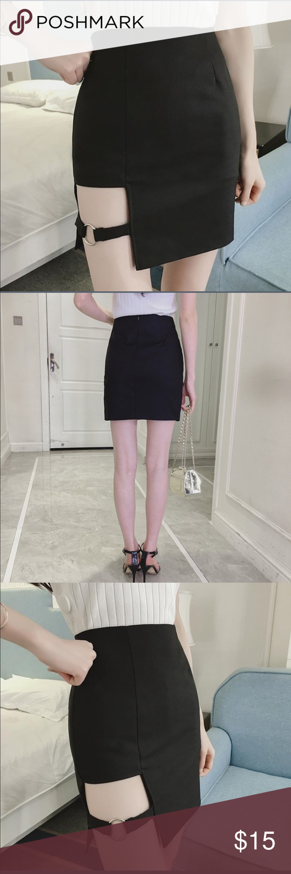 4d4d15f48f NWT Black Cut Out Slit Buckle Mini Skirt Small Bought from Wish App, super  cute