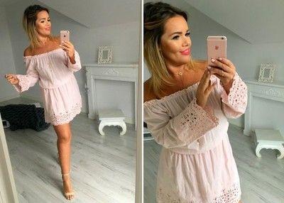 Andzela S 02343 Sukienka Bohemian Pudrowy Roz 6700964107 Oficjalne Archiwum Allegro Off Shoulder Dress Fashion Dresses