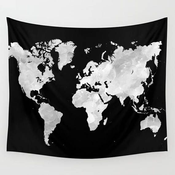 World Map Wall Tapestry Wall Hanging Black Tapestry Design 69 Or