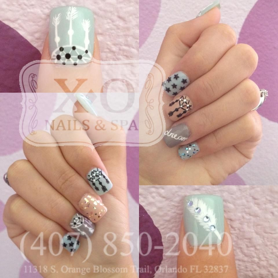 DREAM CATCHER NAIL DESIGN v2.0 3D Stars & Diamond Accented Feather ...