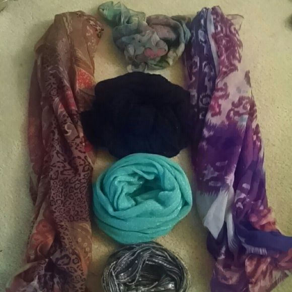 Scarf Lot 6 scarves: 3 infinity scarves, 2 long scarves, 1 short scarf, willing to separate, cheetah print, paisley, striped, flowers, glitter, sparkles, black and white scarf is Candie's brand Candie's Accessories Scarves & Wraps