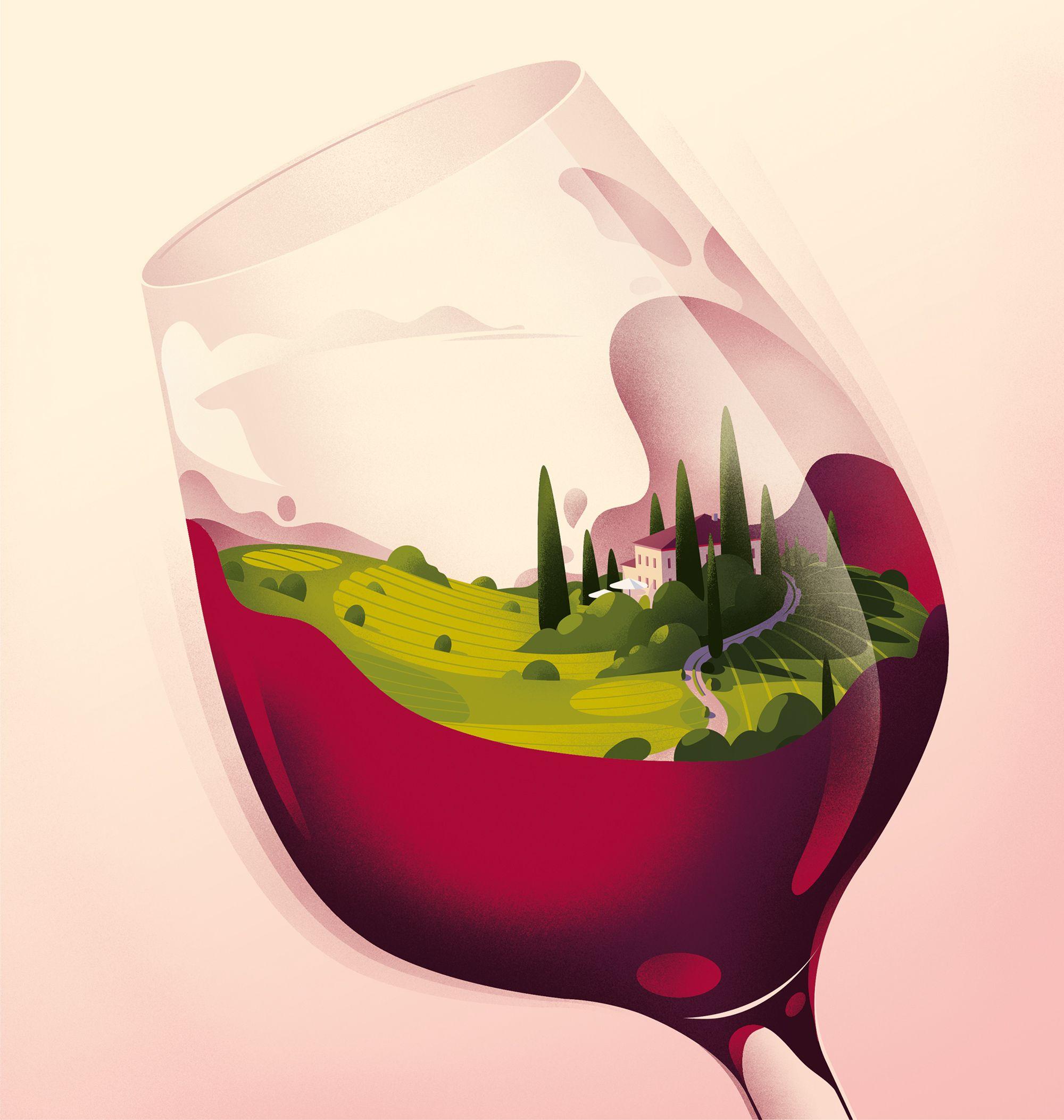 Wine Style By Cruschiform Wine Art Wine Poster Landscape Illustration