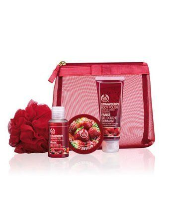 Body Shop Strawberry Shower, Scrub & Moisture Set by The Body Shop. $28.99. This sumptuous Strawberry gift set is sure to put a smile on someone's face. * Mesh Zip Bag. * 2.5 fl oz Strawberry Body Polish * Red Mini Bath Lily. INCLUDES * 2.0 fl oz Strawberry Shower Gel * 1.69 oz Strawberry Body Butter. The Body Shop Strawberry Shower, Scrub & Moisture Set : This sumptuous Strawberry gift set is sure to put a smile on someone's face. Community Trade shea butter helps to improve sk...