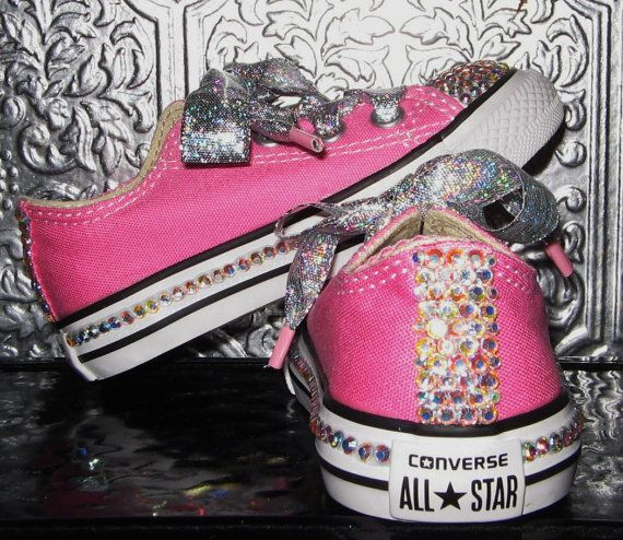 bling converse all star toddler/youth shoes with rhinestones and glitter  ribbon