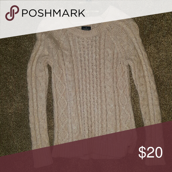 Sweater Light Pink Sparkled American Eagle Sweater (only worn once) American Eagle Outfitters Sweaters