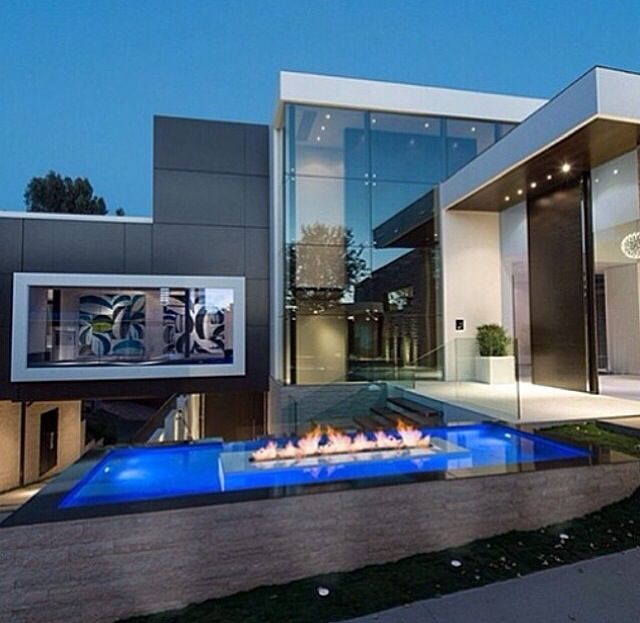 Modern Exterior Of Home With Pathway Transom Window: #modern #home #glass #fireplace #big #mansion #open