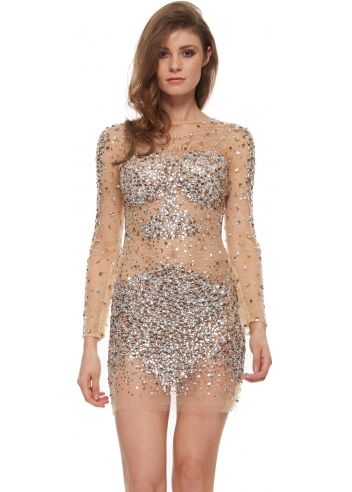 Jovani 7757 Nude Crystal Adorned Long Sleeve Mini Dress | Daring ...