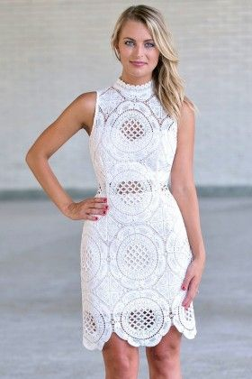 white lace high neck lace dress cute white rehearsal dinner dress bridal shower dress