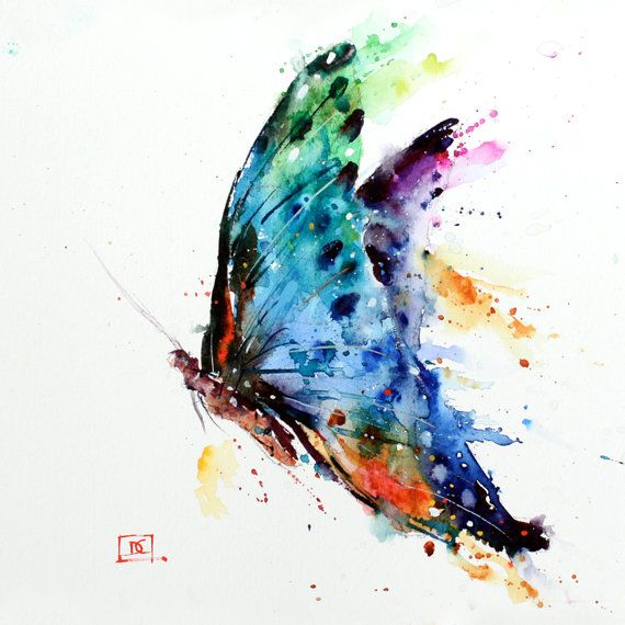 Butterfly Original Watercolor Painting By Dean Crouser Peinture