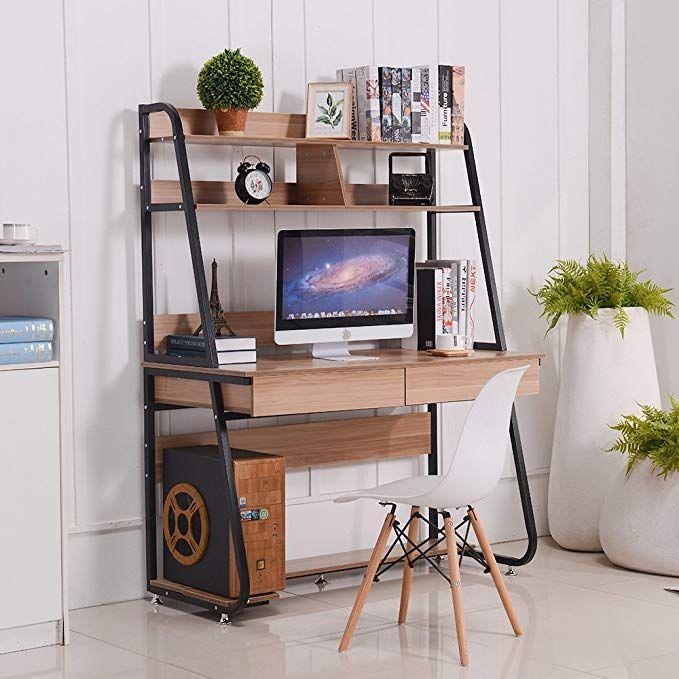Emall Life Multi Functional Computer Desk Bookshelf Drawers Home Office PC Laptop Study Table Black Shelf Light Walnut