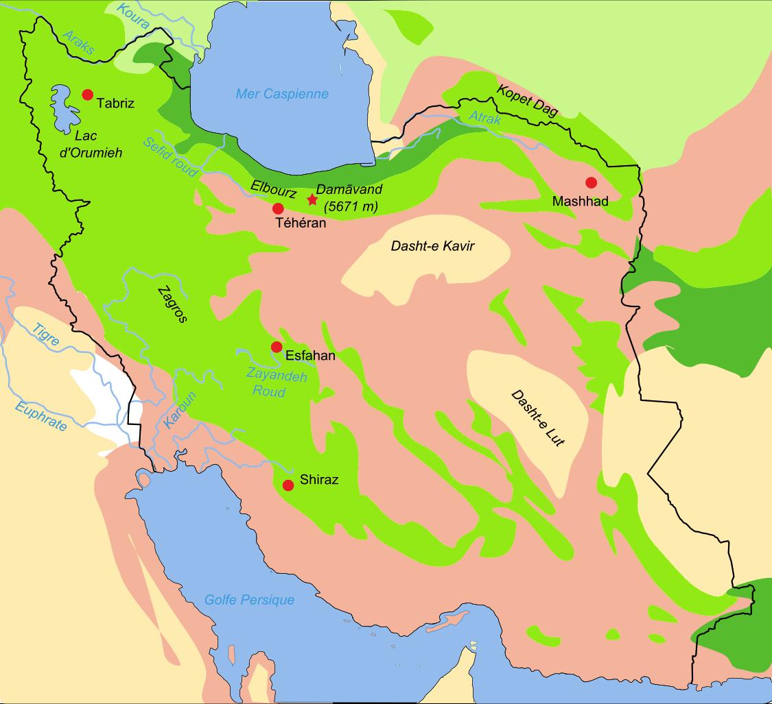 Map Iran Biotopes Simplified Karten