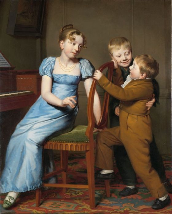 Willem Bartel van der Kooi Piano Practice Interrupted, 1813. Art as Therapy. What year was this painted in? Try to stop worrying about who painted this and when. What's good about this work is primarily the enchanting human dynamics at play.