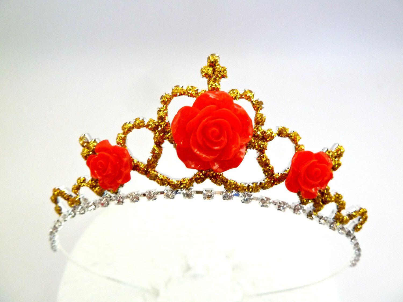 Princess Belle Rose Gold Crownprincess Belle Tiara Etsy Rose Gold Tiara Rose Gold Crown Gold Tiara