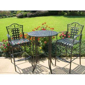 Mandalay Iron Patio 3 Piece Bar Bistro Set Height Table 2 Chairs In Black Charcoal Gray Marbled Finish
