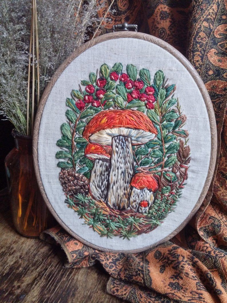 Mushroom Embroidery Forest Autumn Hoop Art Thread Painting Etsy