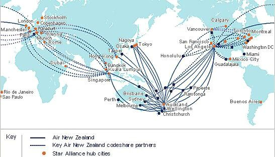 Air New Zealand Route Map Air New Zealand, International Route Map, 2008 | Airline Route  Air New Zealand Route Map