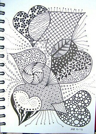 Pin By Sylvih On Doodle Zentangle Drawings Zentangle Patterns Heart Doodle