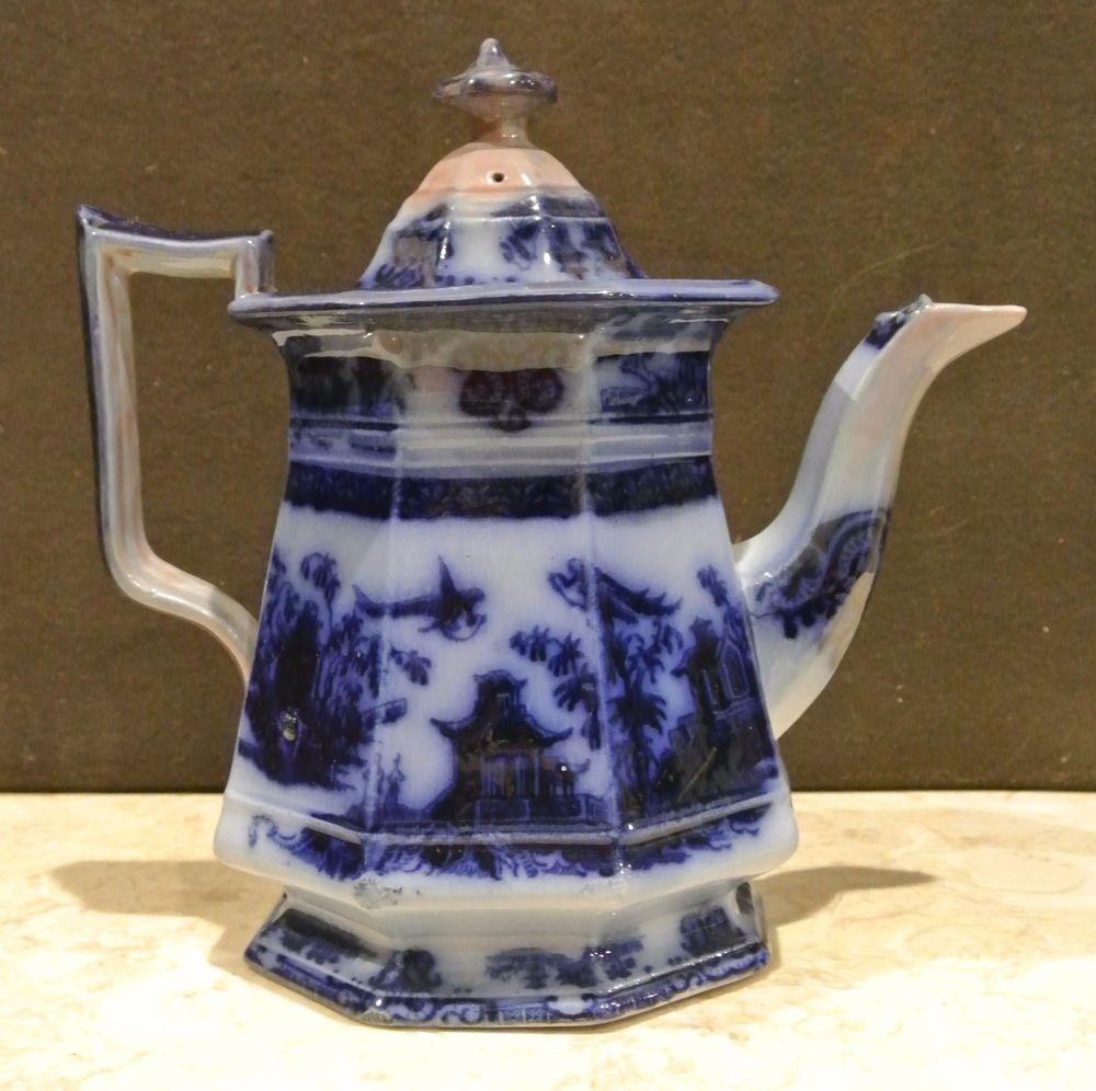 """Antique Flow Blue Ironstone: J. Clementson-""""Chusan"""" - Coffee Pot-19th cent. A #JClementson #OrientalFlowBlue"""
