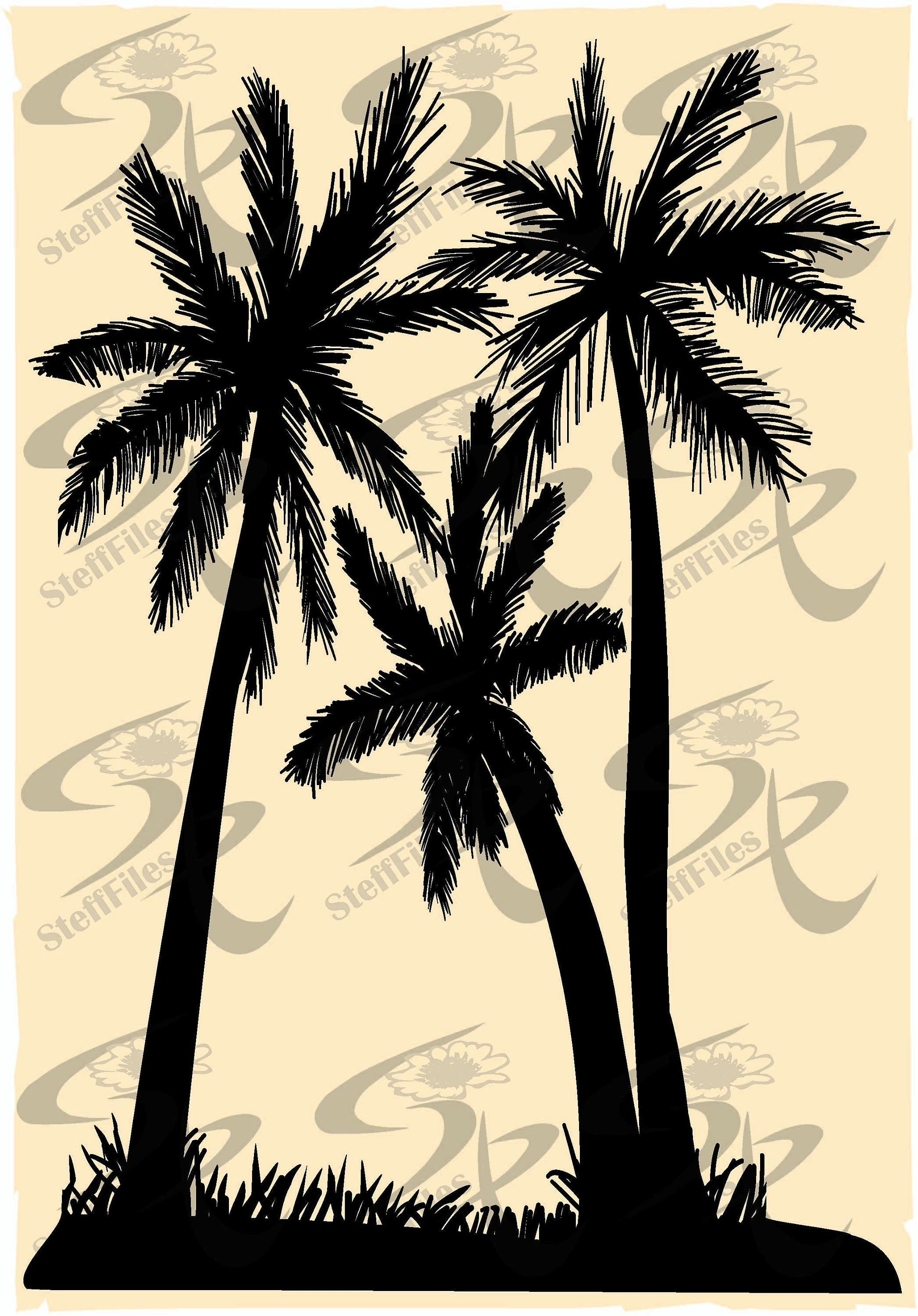Vector Palms Tree Silhouette Clipart Svg Dxf Ai Png Eps Jpg Download Files Digital Graphical Vozeli Com