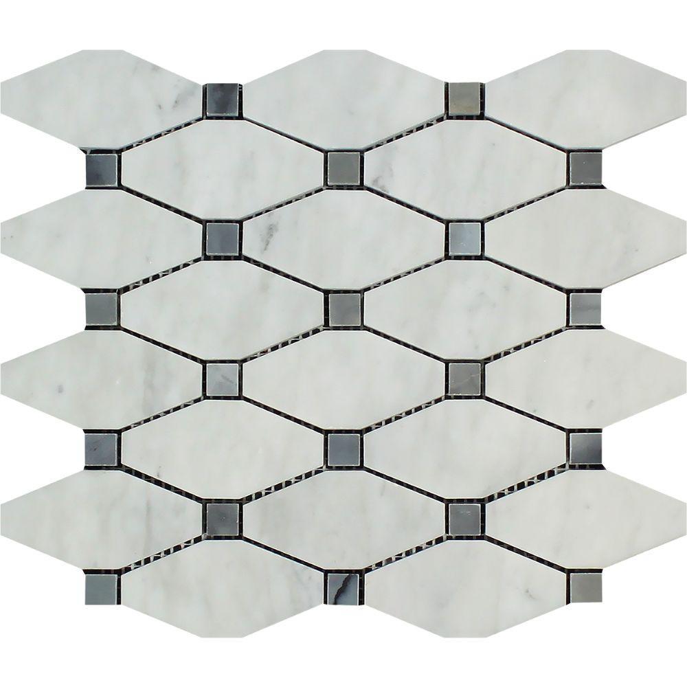Best Bianco Carrara Honed Marble Octave Mosaic Tile W Blue 400 x 300