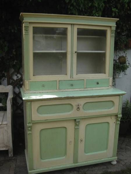 antikes Küchenbuffet, mintgrün-cremeweiss Antik Living do domu - küchenbuffet weiß antik