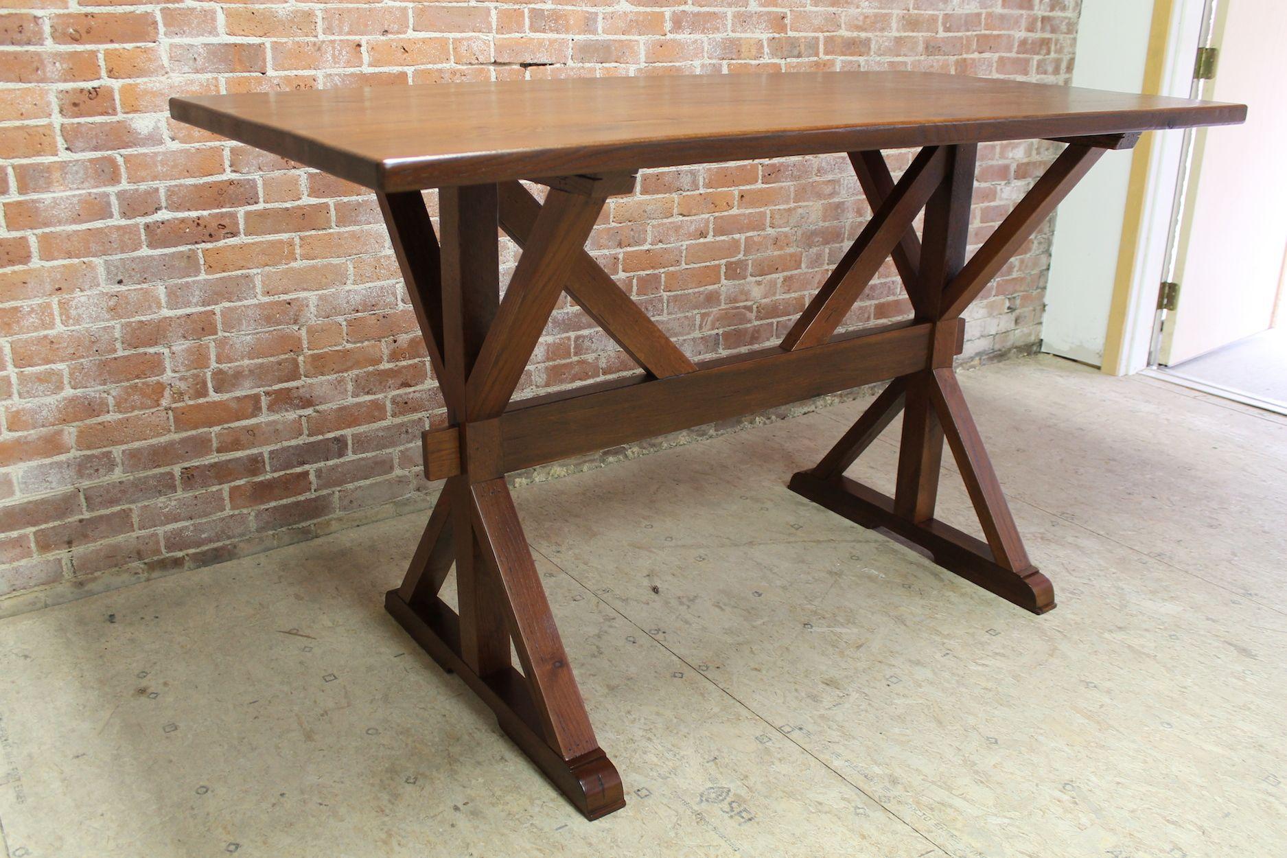 42 bar height oak trestle table ecustomfinishes