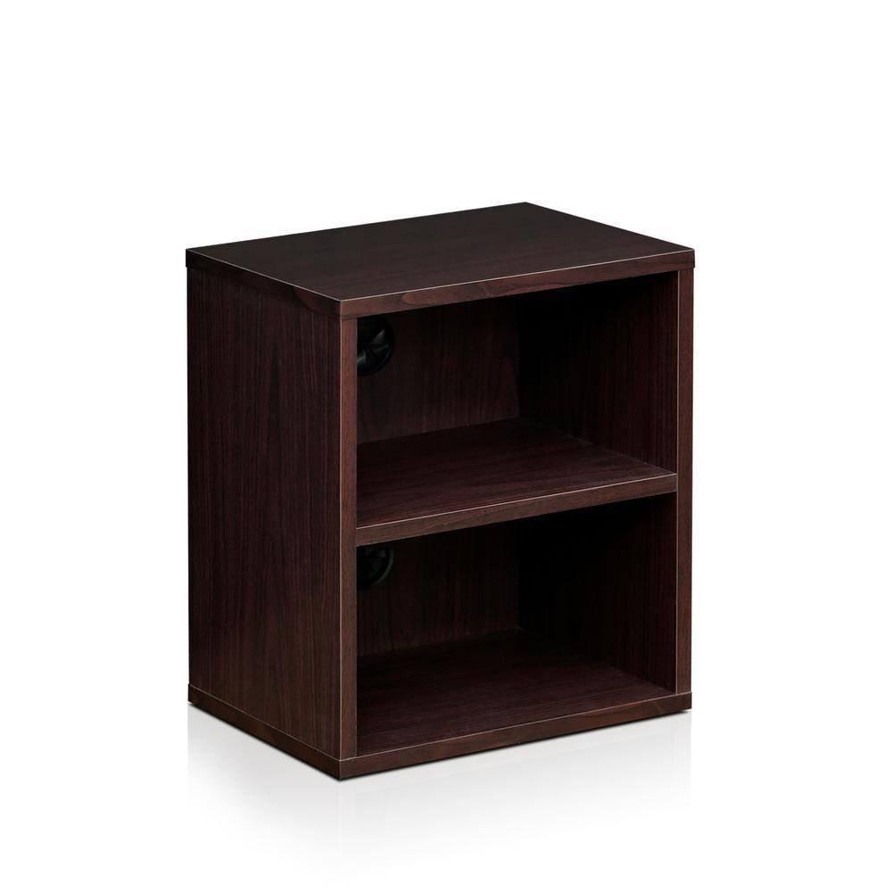 Furinno 17 8 In Espresso Wood 2 Shelf Standard Bookcase With