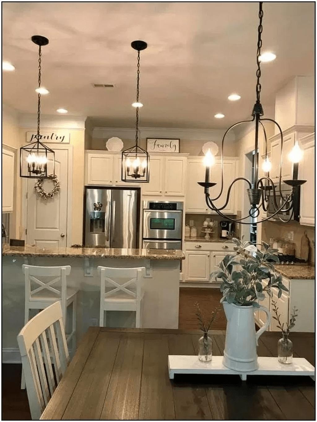 32 Stunning Dining Room Lighting Ideas In 2020 Farmhouse Dining Rooms Decor Farmhouse Kitchen Design Farmhouse Kitchen Lighting