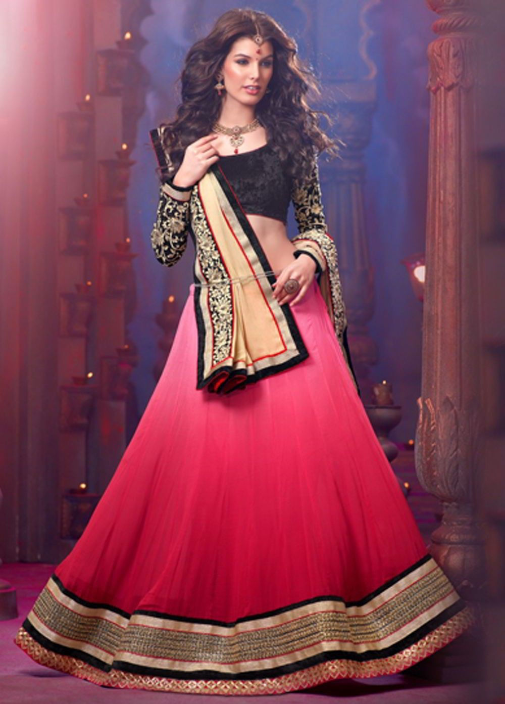 Georgette dupatta draped across one shoulder, paired with a ghaghara.. Read more http://fashionpro.me/choosing-dupatta-complement-outfit
