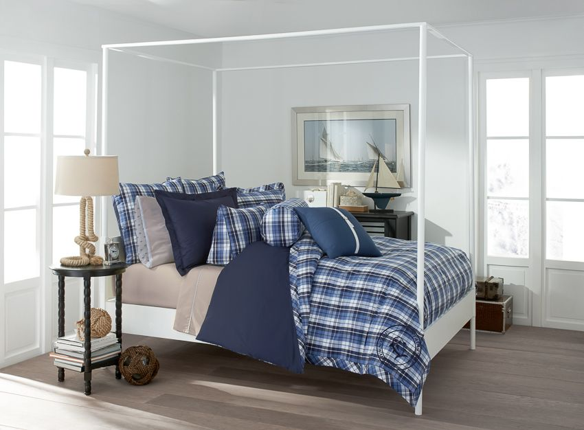the nautical plaid reversible comforter set by southern tide
