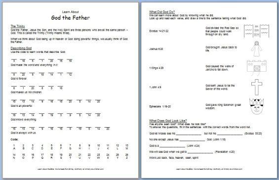 printable god the father bible worksheet for kids kw pinterest worksheets bible and father. Black Bedroom Furniture Sets. Home Design Ideas