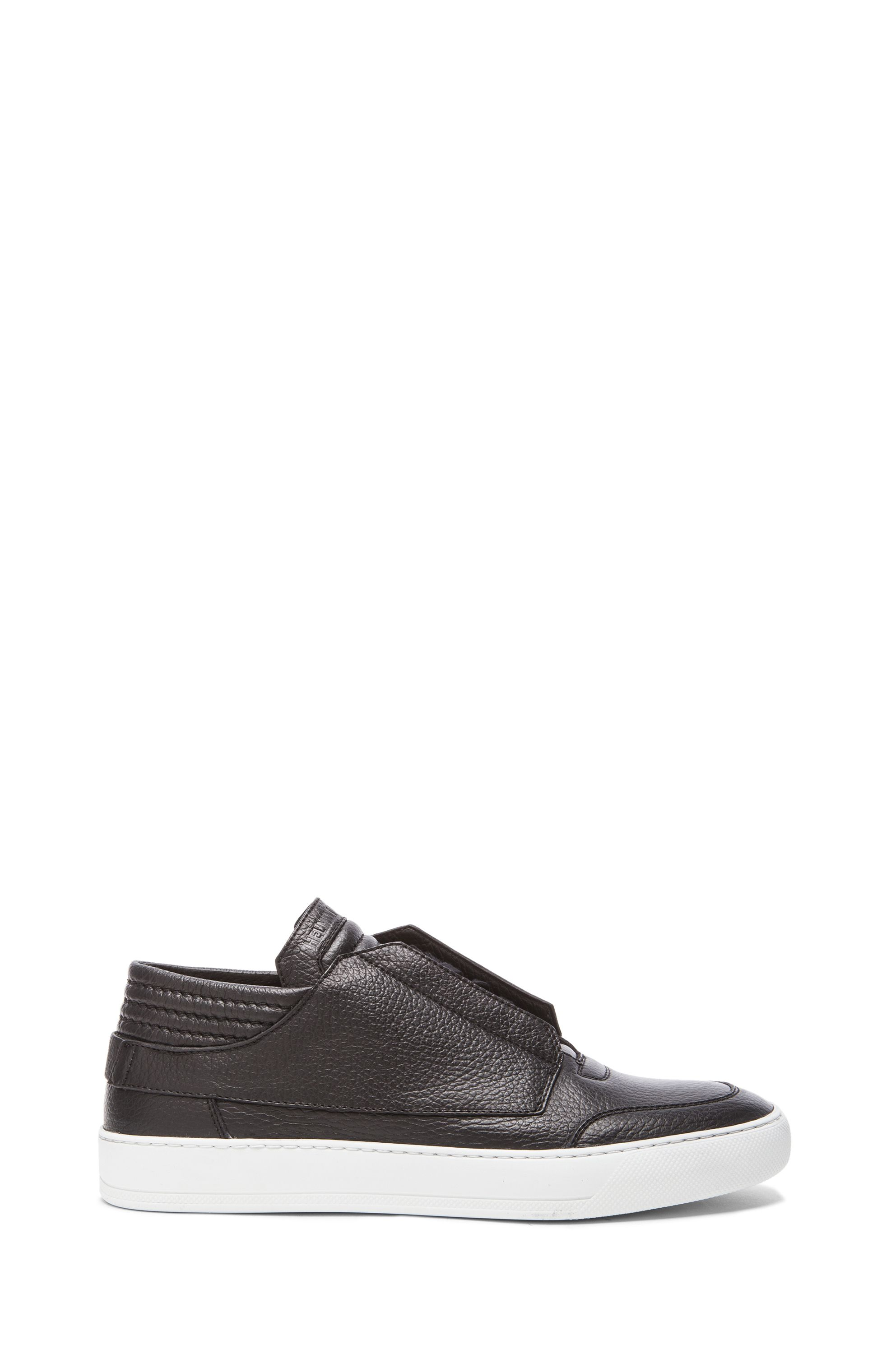 Image 2 of Helmut Lang Low Top Textured Leather Sneakers in Black