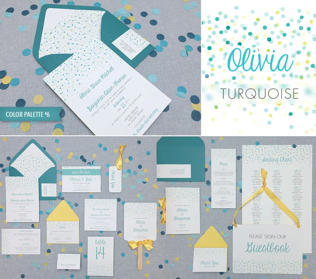 DIY turquoise polka dot wedding invitation suite, perfect for a ...