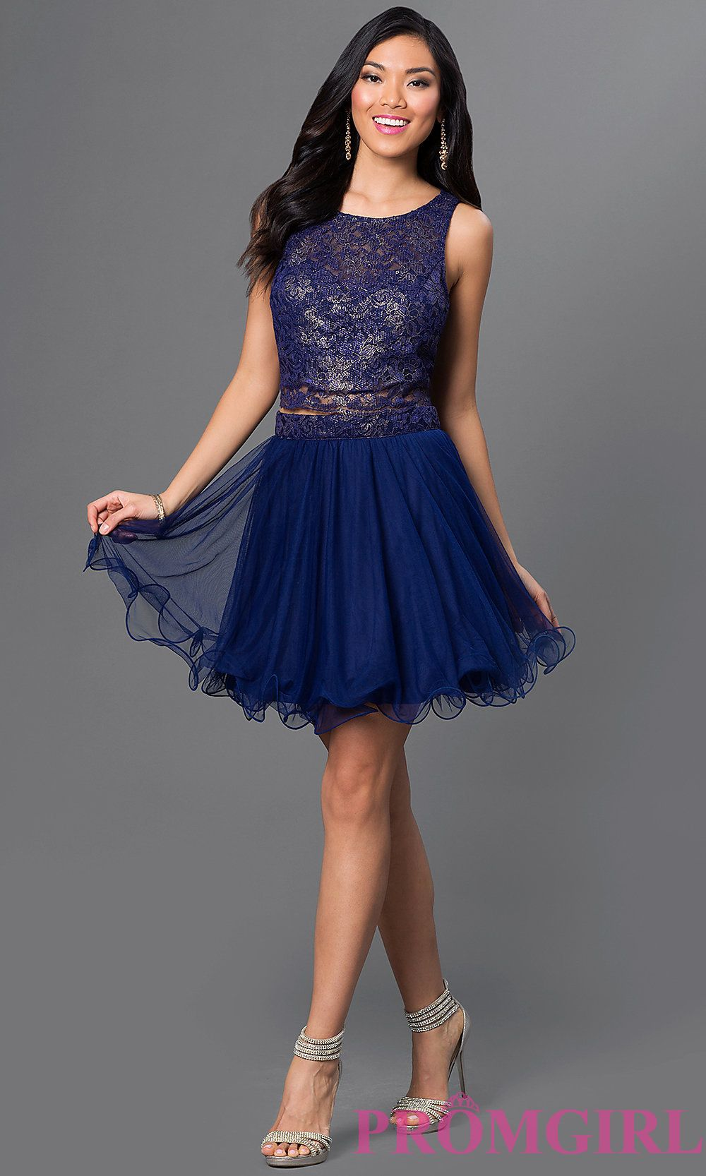 Image of short twopiece navyblue party dress with open
